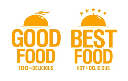 temlate: Best delicious food, vector signs