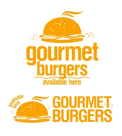 Gourmet burgers available here, vector signs