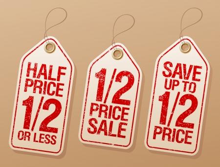 half and half: Ahorrar la mitad de precio, etiquetas promocionales venta fijados