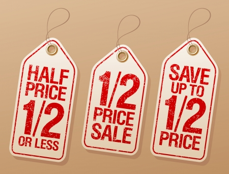 half price: Half price save, promotional sale labels set  Illustration