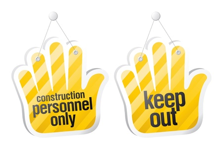Personnel only, keep out signs in form of palm  Stock Vector - 14755156