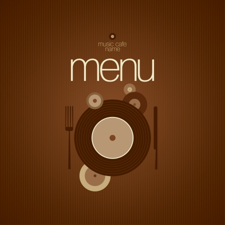 karaoke bar: Music Cafe Menu Card Design template Vectores