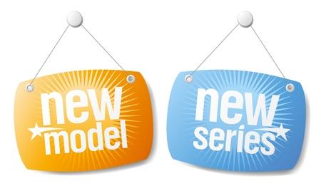 merken: Nieuw model, nieuwe serie vector tekenen