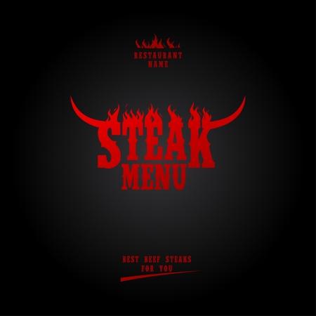 beef steak: Men� Steak tarjeta de dise�o de la plantilla