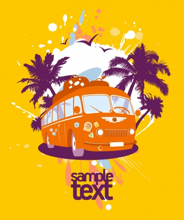 hot tour: Fashion design template with retro bus and tropical view