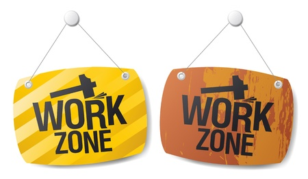 Work zone signs set Stock Vector - 14755171