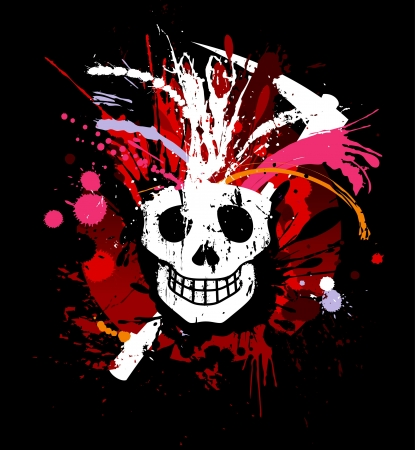 Skull grunge design for t-shirt