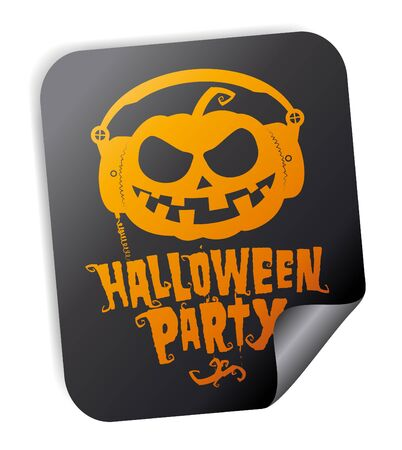 Halloween party sticker with pumpkin wear headphones Vector