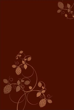 hop hops: Stylized hop flowers composition on a dark red background