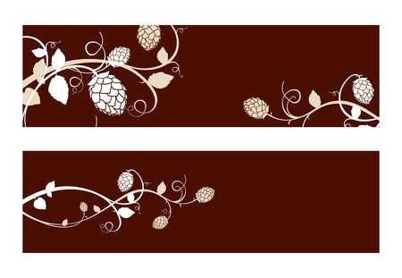 dark lager: Stylized hop flowers composition, banner set
