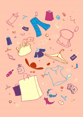illustraition: illustraition of shopping symbols, hand drawn design set. Illustration