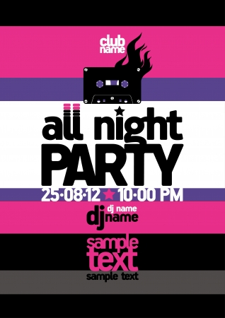 All Night Party design template with place for text  Stock Vector - 15148434