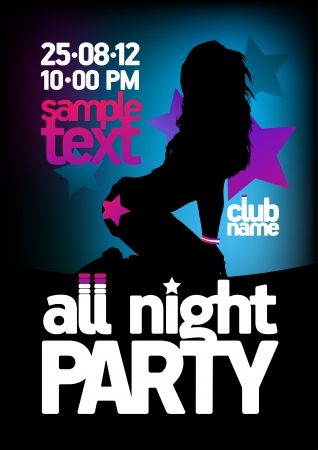 All Night Party design template with fashion girl and place for text  Vector