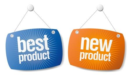 Кнопки: Новая Лучшая Знаки набора продуктов