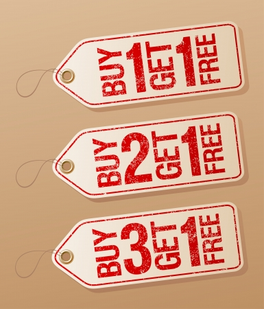 get one: Buy one get one free, promotional sale labels set