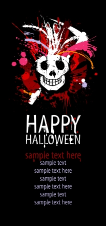 dl: Happy Halloween Design template with grunge skull and place for text