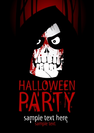 Halloween Party Design template, with death and place for text  Vector