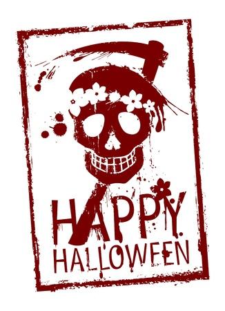 Happy Halloween rubber stamp with grunge skull Stock Vector - 15148447