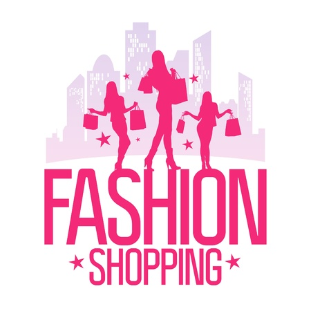 shopaholics: Fashion shopping design template with fashion girls silhouette on the background of a big city