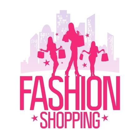 fashion shopping: Tiendas de moda plantilla de dise�o de moda con ni�as silueta en el fondo de una gran ciudad