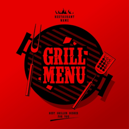carne pollo: Grill Menu Card Design template Vectores