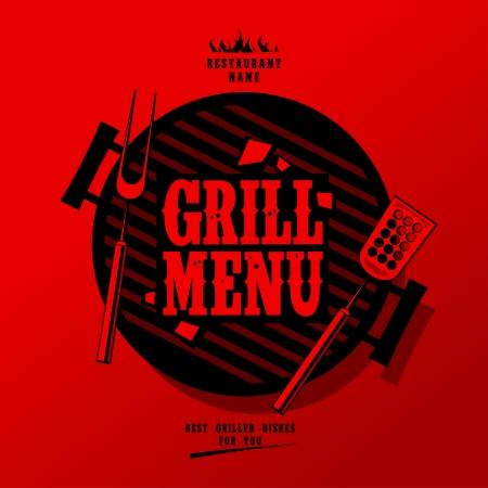 grill meat: Menu Card Design Grill mod�le