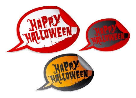 Happy Halloween stickers in form of speech bubbles Vector