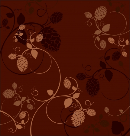 Stylized hop flowers composition on a dark red background. Vector
