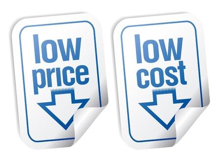 low price: Adesivi a basso prezzo impostato con ombra.