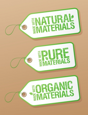 Made With Natural Pure Materials labels collection. Vector