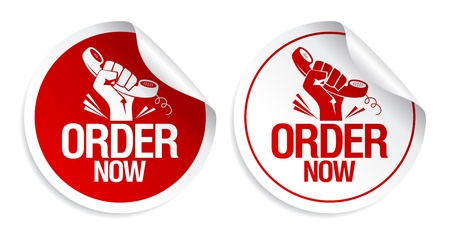 Order now stickers set. Vector