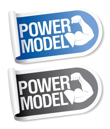 Power model stickers. Vector
