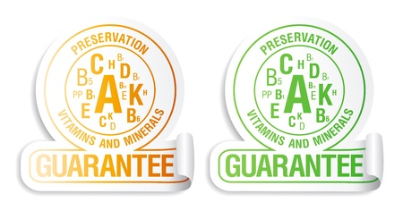 Preservation vitamins and minerals guarantee. Icons for canned and frozen fruits and vegetables. Stock Vector - 15148429