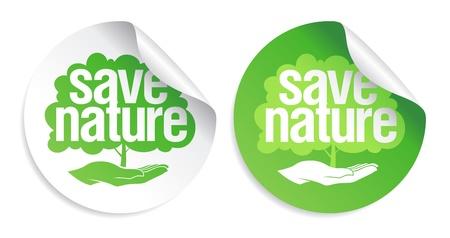 safe world: Save nature signs set. Illustration