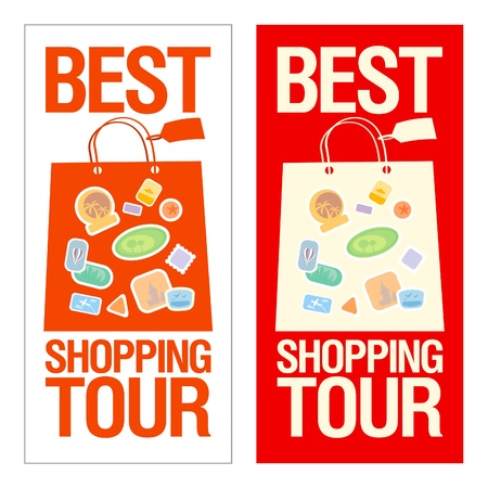 Best shopping tour banner with paper bags. Stock Vector - 15148417