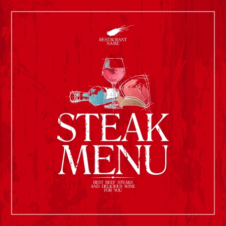 steak beef: Steak Menu Card Design template. Illustration