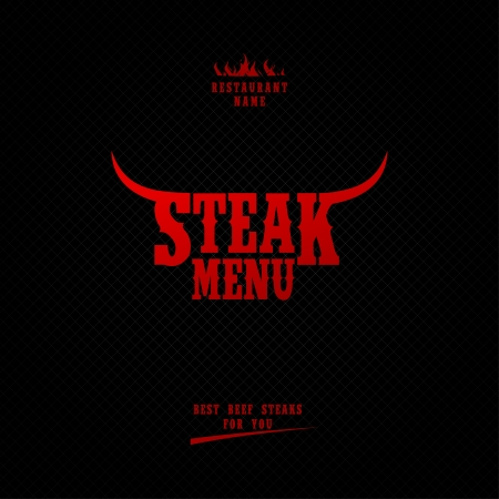 beef steak: Men� Steak Card Design template.