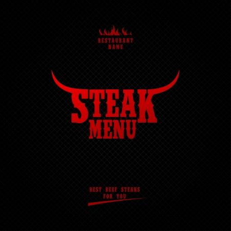 grill meat: Menu Steak Card Design template.