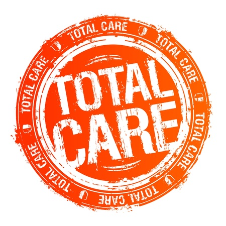 health care decisions: Total care rubber stamp. Illustration