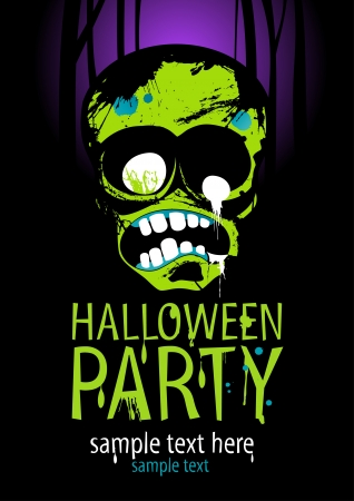 Halloween Party Design template with zombie and place for text. Stock Vector - 15148438