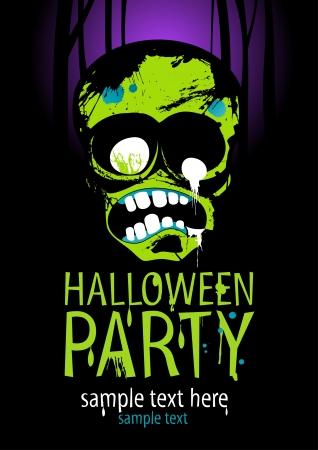 halloween party: Partij van Halloween ontwerp sjabloon met zombie en plaats voor tekst.