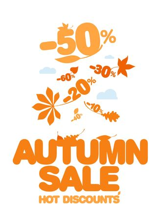 Autumn sale design template  Hot discounts  Vector