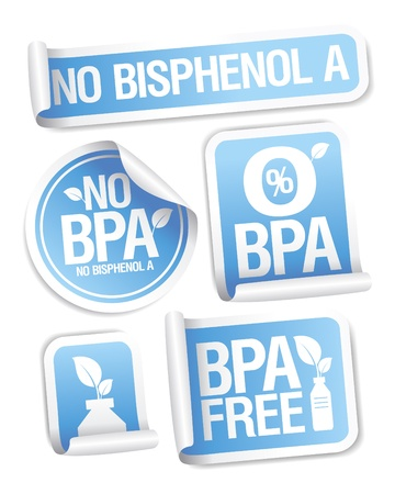 Bisphenol A  BPA  free products stickers set  Stock Vector - 15311980