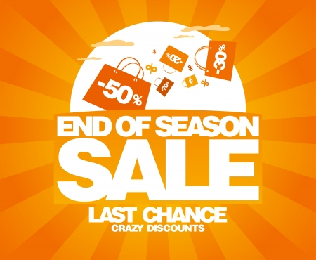 End of season sale design template with shopping bags