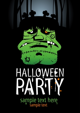 Halloween Party Design template, with Frankenstein  Vector
