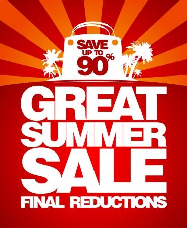 ropa de verano: Venta final de verano dise�o de la plantilla con el bolso de compras