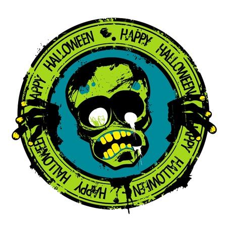 Happy Halloween rubber stamp with zombie  Иллюстрация