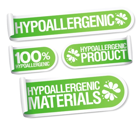 hypoallergenic: Hypoallergenic products stickers set