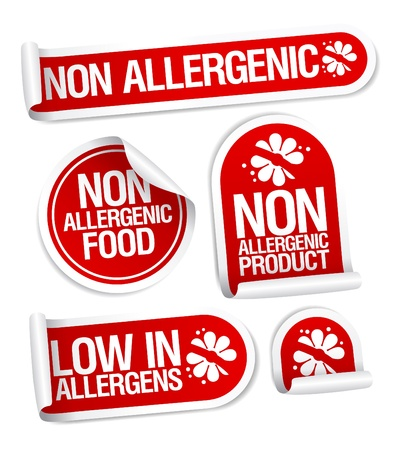 allergenic: Non allergenic products stickers set