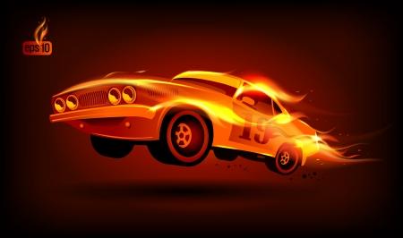 carro caricatura: Fiery coche deportivo retro dise�o de la plantilla